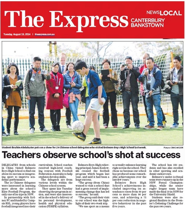 Belmore Boys' makes local newspaper The Express! - Belmore